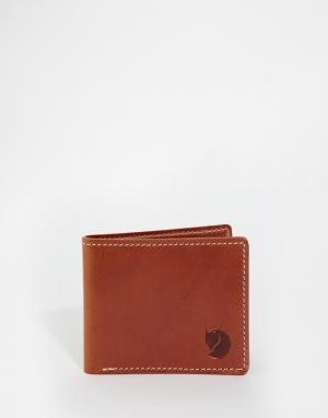 Кожаный бумажник Ovik Fjallraven. Цвет: коричневый