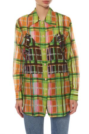 Рубашка Carven. Цвет: зеленый, оранжевый