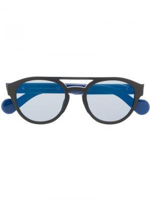 Солнцезащитные очки в круглой оправе Moncler Eyewear. Цвет: синий