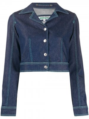 Укороченная джинсовая куртка с лацканами Kenzo. Цвет: синий