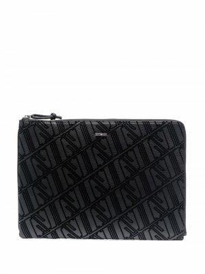 Чехол для ноутбука с логотипом Emporio Armani. Цвет: черный