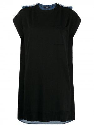 Платье с джинсовой вставкой на спине Diesel. Цвет: черный