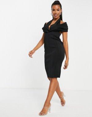 Черное платье-футляр миди с открытой спиной и большим воротником -Черный цвет ASOS DESIGN