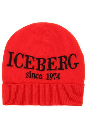 Шапка кашемировая с принтом ICEBERG. Цвет: красный