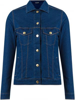 Классическая джинсовая куртка с воротником-поло Amapô. Цвет: синий