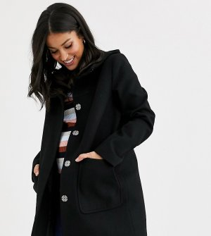 Черное пальто узкого кроя с капюшоном ASOS DESIGN Maternity-Черный Maternity