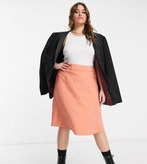 Жаккардовая мини-юбка персикового цвета Plus-Оранжевый Elvi