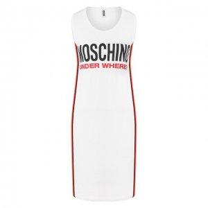 Хлопковое платье Moschino Underwear Woman. Цвет: белый