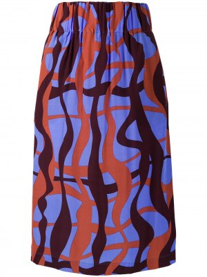 Юбка-карандаш Faldilla с абстрактным принтом Aspesi. Цвет: синий