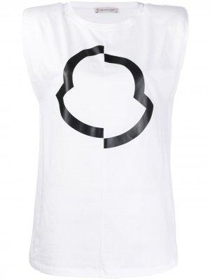 Топ без рукавов с логотипом Moncler. Цвет: белый