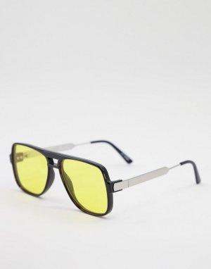 Черные солнцезащитные очки-авиаторы унисекс с желтыми линзами Orbital-Черный цвет Spitfire