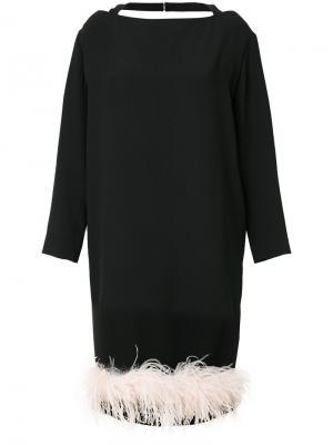 Платье с отделкой перьями Prada. Цвет: черный