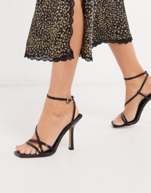 Черные босоножки на каблуке -Черный Topshop