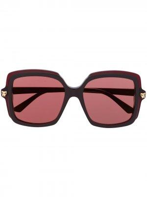 Солнцезащитные очки Panthère в массивной оправе Cartier. Цвет: коричневый