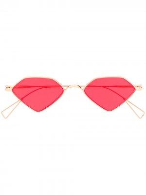 Солнцезащитные очки в геометричной оправе Acne Studios. Цвет: золотистый