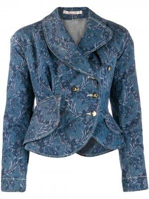 Джинсовая куртка с цветочным принтом Vivienne Westwood Pre-Owned. Цвет: синий