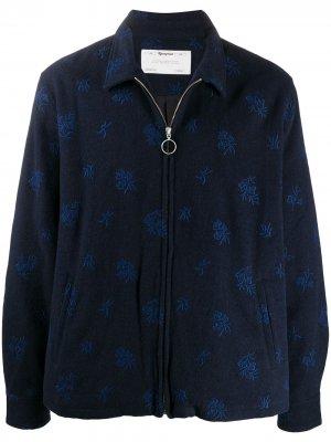 Флисовая толстовка на молнии с вышивкой Reception. Цвет: синий