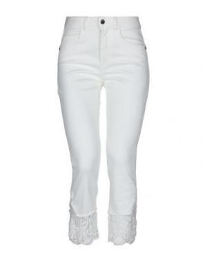 Джинсовые брюки-капри ANGELO MARANI. Цвет: слоновая кость