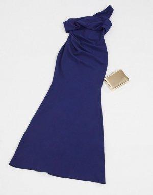 Темно-синее платье макси на одно плечо -Темно-синий Goddiva