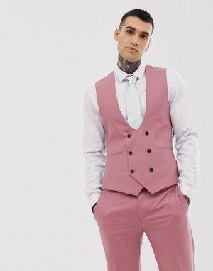 Супероблегающий жилет пыльно-розового цвета -Розовый Twisted Tailor