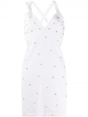 Джинсовое платье с заклепками Frankie Morello. Цвет: белый