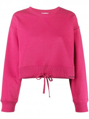 Cropped drawstring hem sweatshirt RED Valentino. Цвет: розовый
