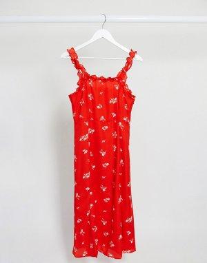 Красное платье миди с квадратным вырезом и цветочным принтом -Красный Gilli