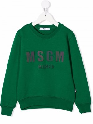 Logo-embroidered sweatshirt MSGM Kids. Цвет: зеленый
