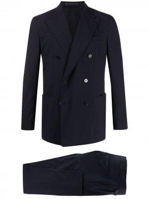 Костюм-двойка с двубортным пиджаком Bagnoli Sartoria Napoli. Цвет: синий