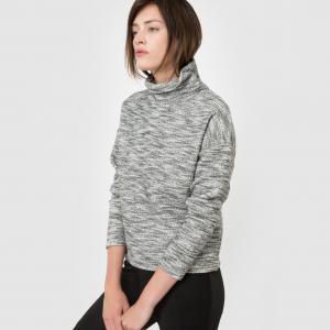 Пуловер с высоким воротником La Redoute Collections. Цвет: серый меланж