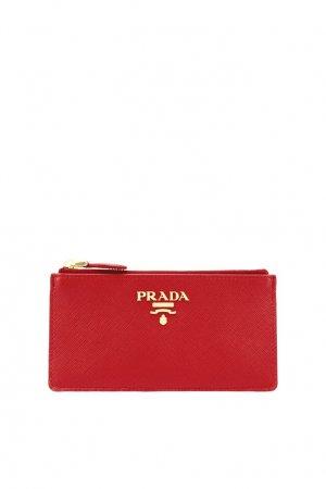 Красный кожаный футляр для документов Prada. Цвет: красный