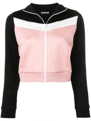 Спортивная куртка панельного дизайна Miu. Цвет: розовый