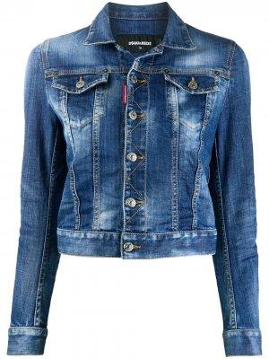 Джинсовая куртка из вареного денима Dsquared2. Цвет: синий