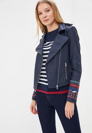 Куртка кожаная Desigual. Цвет: синий