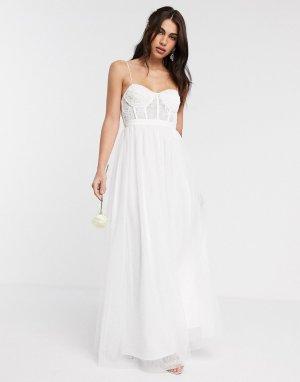 Свадебное платье с кружевным корсетом -Белый ASOS EDITION