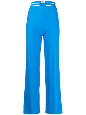 Прямые брюки с поясом Marine Serre. Цвет: синий