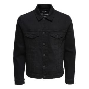 Жакет прямого покроя из джинсовой ткани ONLY & SONS. Цвет: черный