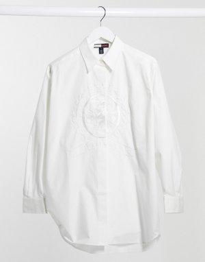 Белая рубашка в стиле бойфренд с вышитым гербом Collection-Белый Tommy Hilfiger
