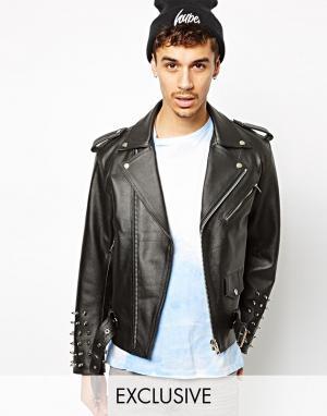 Кожаная куртка с шипованными рукавами Reclaimed Vintage. Цвет: черный
