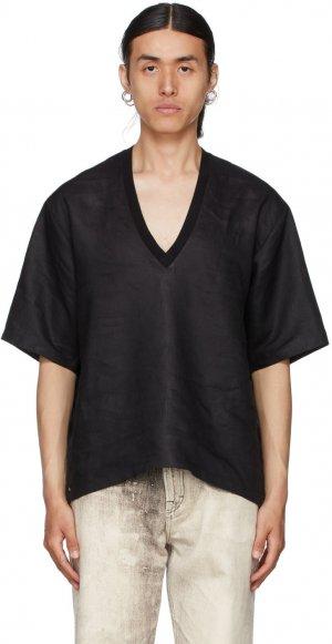 Black Linen V-Neck T-Shirt Bless. Цвет: black