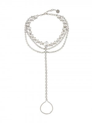 Кольцо с браслетом и кристаллами Miu. Цвет: серебристый