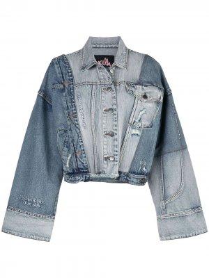 Джинсовая куртка в стиле колор-блок Haculla. Цвет: синий