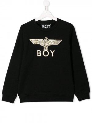 Толстовка с металлизированным логотипом Boy London Kids. Цвет: черный