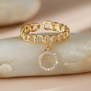18K Позолоченное кольцо-цепочка из 18-каратного золота SHEIN. Цвет: золотистый