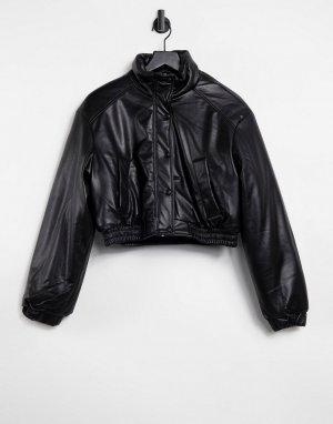 Черный бомбер из искусственной кожи с утеплителем -Черный цвет Bershka
