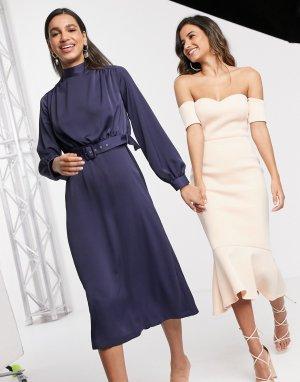 Темно-синее платье миди с высоким воротом и поясом -Темно-синий Closet London