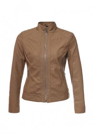 Куртка кожаная Adrixx. Цвет: коричневый