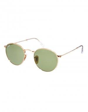 Солнцезащитные очки с круглыми зелеными линзами -Золотой Ray-Ban