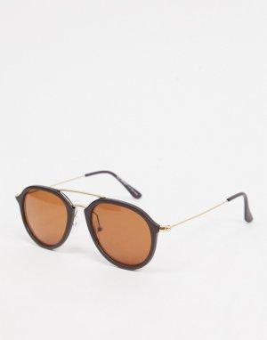 Коричневые солнцезащитные очки-авиаторы -Коричневый цвет AJ Morgan