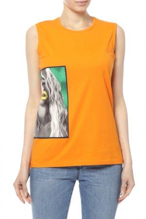 Майка Acne Studios. Цвет: portrait print curry orange